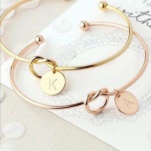 Jewelry - Letter A charm rose gold knot bracelet